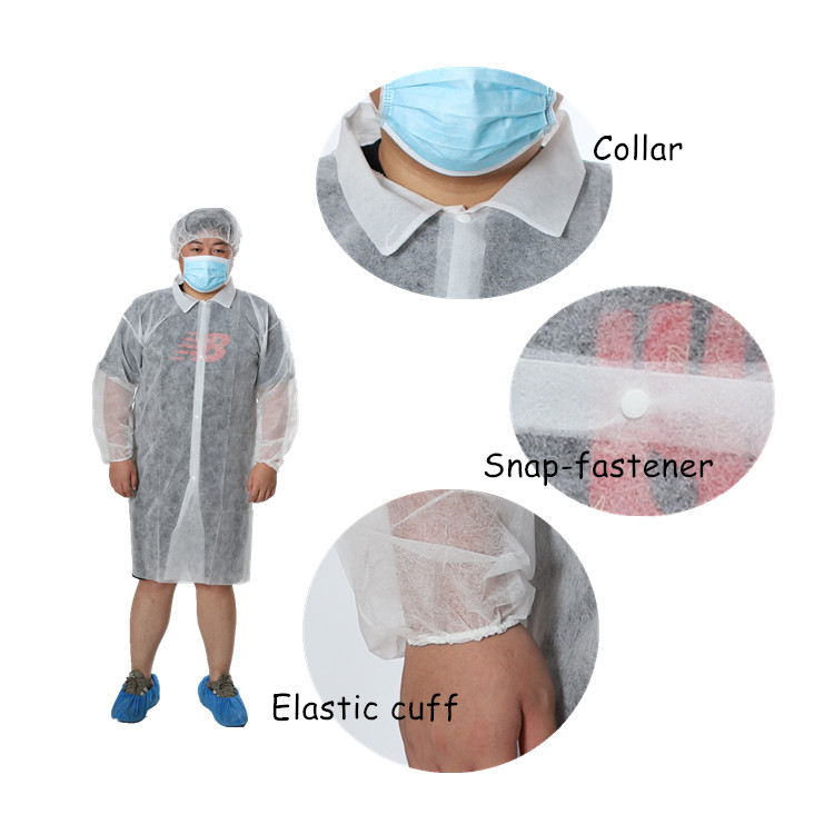Disposable Lab Coat - Collar/Snap